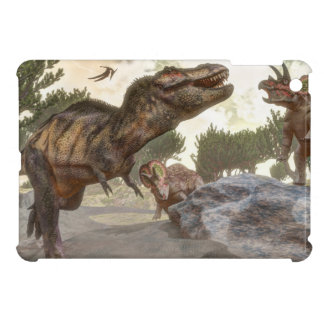 Tyrannosaurus rex escaping from triceratops attack iPad mini cover