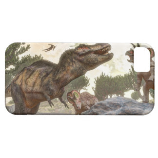 Tyrannosaurus rex escaping from triceratops attack iPhone 5 cover