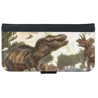 Tyrannosaurus rex escaping from triceratops attack iPhone 6 wallet case