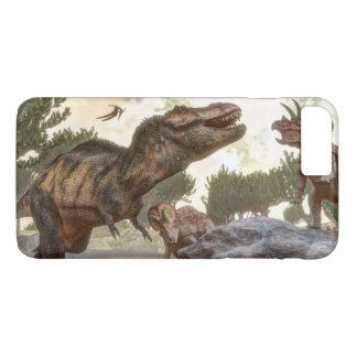 Tyrannosaurus rex escaping from triceratops attack iPhone 7 plus case