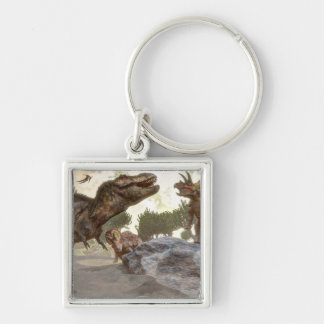 Tyrannosaurus rex escaping from triceratops attack keychain