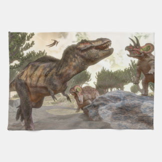 Tyrannosaurus rex escaping from triceratops attack kitchen towel