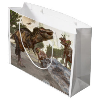 Tyrannosaurus rex escaping from triceratops attack large gift bag