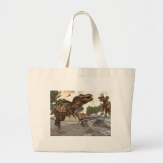 Tyrannosaurus rex escaping from triceratops attack large tote bag