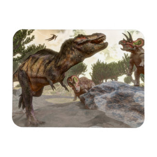 Tyrannosaurus rex escaping from triceratops attack magnet