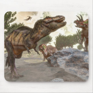 Tyrannosaurus rex escaping from triceratops attack mouse pad
