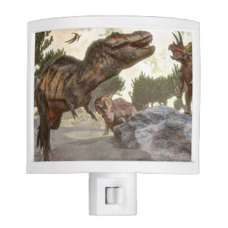Tyrannosaurus rex escaping from triceratops attack night lights