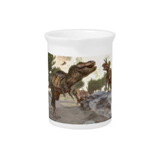 Tyrannosaurus rex escaping from triceratops attack pitcher