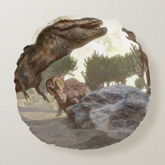 Tyrannosaurus rex escaping from triceratops attack round pillow