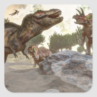 Tyrannosaurus rex escaping from triceratops attack square sticker