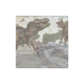 Tyrannosaurus rex escaping from triceratops attack stone magnets
