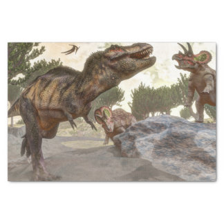 Tyrannosaurus rex escaping from triceratops attack tissue paper