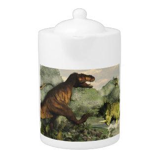 Tyrannosaurus rex fighting against styracosaurus
