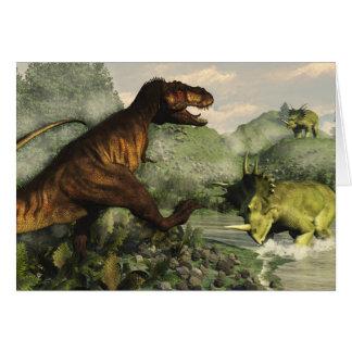 Tyrannosaurus rex fighting against styracosaurus card