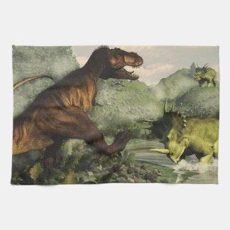Tyrannosaurus rex fighting against styracosaurus hand towels