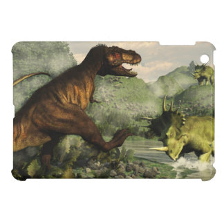 Tyrannosaurus rex fighting against styracosaurus iPad mini cases