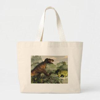 Tyrannosaurus rex fighting against styracosaurus large tote bag