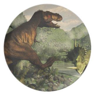 Tyrannosaurus rex fighting against styracosaurus plate