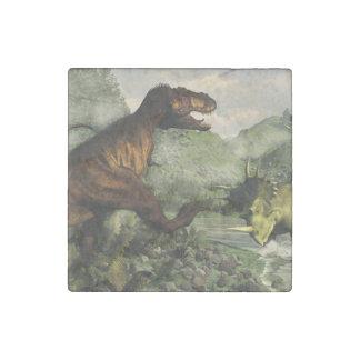 Tyrannosaurus rex fighting against styracosaurus stone magnets