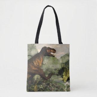 Tyrannosaurus rex fighting against styracosaurus tote bag