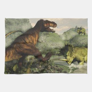 Tyrannosaurus rex fighting against styracosaurus towels
