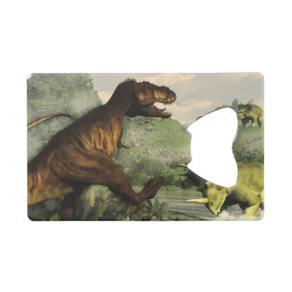 Tyrannosaurus rex fighting against styracosaurus wallet bottle opener