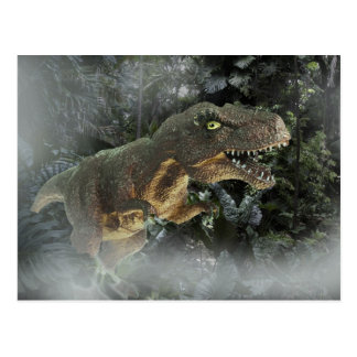 Tyrannosaurus Rex in the Jungle. Postcard
