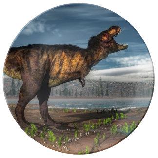 Tyrannosaurus rex porcelain plates