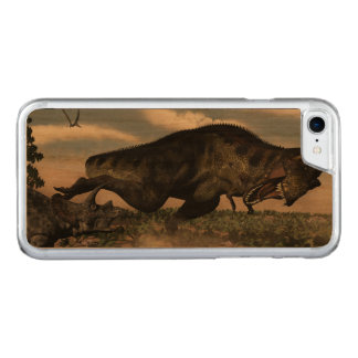 Tyrannosaurus rex roaring at a triceratops carved iPhone 7 case
