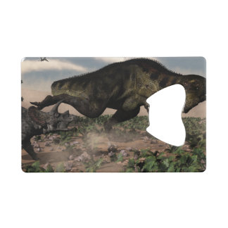 Tyrannosaurus rex roaring at a triceratops credit card bottle opener