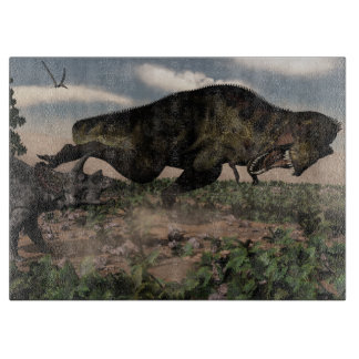 Tyrannosaurus rex roaring at a triceratops cutting board