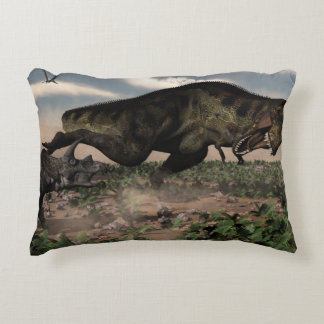 Tyrannosaurus rex roaring at a triceratops decorative pillow