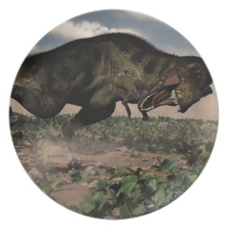 Tyrannosaurus rex roaring at a triceratops plate