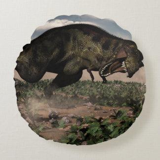 Tyrannosaurus rex roaring at a triceratops round pillow