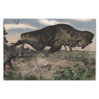 Tyrannosaurus rex roaring at a triceratops tissue paper