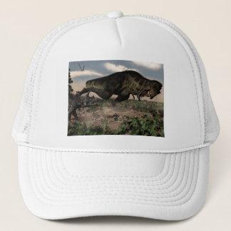Tyrannosaurus rex roaring at a triceratops trucker hat
