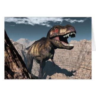 Tyrannosaurus rex roaring in a canyon card