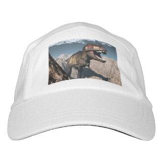 Tyrannosaurus rex roaring in a canyon hat