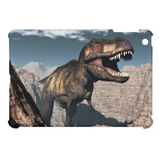 Tyrannosaurus rex roaring in a canyon iPad mini cases