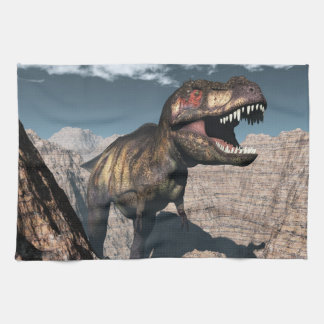 Tyrannosaurus rex roaring in a canyon kitchen towel