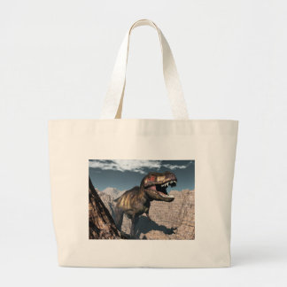 Tyrannosaurus rex roaring in a canyon large tote bag