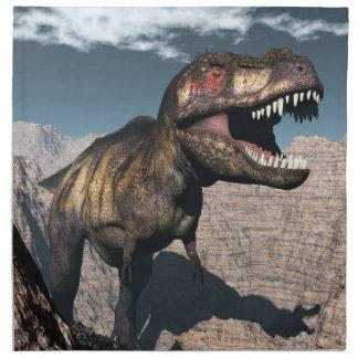 Tyrannosaurus rex roaring in a canyon napkin