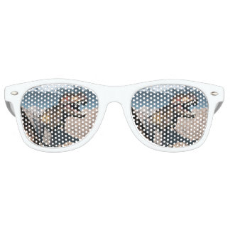 Tyrannosaurus rex roaring in a canyon party sunglasses