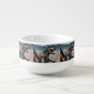 Tyrannosaurus rex roaring in a canyon soup mug