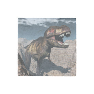 Tyrannosaurus rex roaring in a canyon stone magnets
