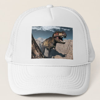 Tyrannosaurus rex roaring in a canyon trucker hat