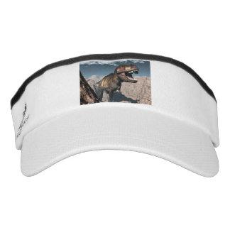 Tyrannosaurus rex roaring in a canyon visor