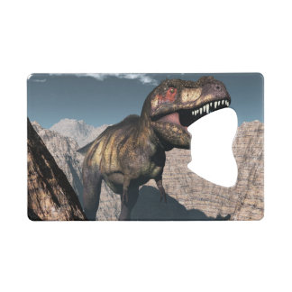 Tyrannosaurus rex roaring in a canyon wallet bottle opener