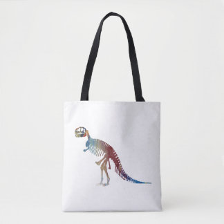 Tyrannosaurus rex skeleton art tote bag