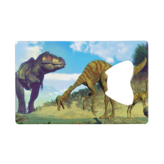Tyrannosaurus rex surprising gallimimus dinosaurs credit card bottle opener